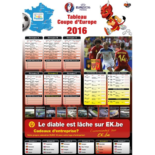 EK speelschema poster 2016 France